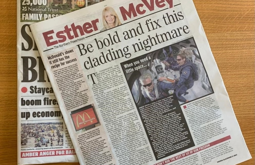 'Be bold and fix this cladding nightmare', says Esther McVey in today's Daily Express