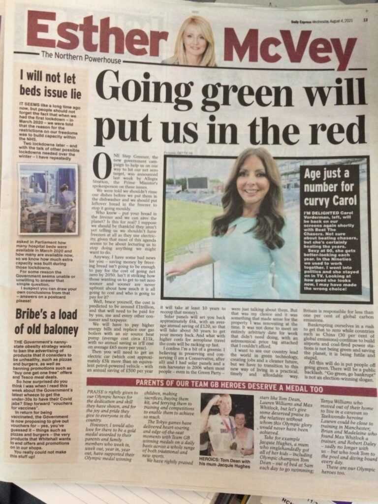 'British public will backlash against PM's green agenda', says Esther McVey in today's Daily Express