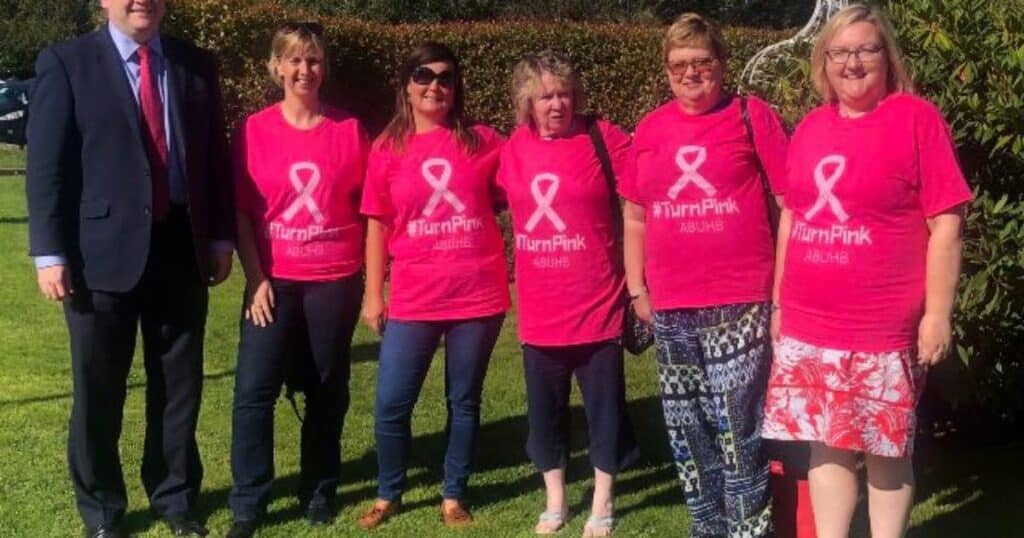Nick Thomas-Symonds MP Supports Annual 'Turn ABUHB Pink' Day in Aid of new Breast Care Unit